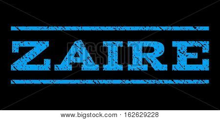 Zaire watermark stamp. Text tag between horizontal parallel lines with grunge design style. Rubber seal stamp with unclean texture. Vector blue color ink imprint on a black background.