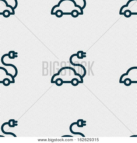 Electric Car Icon Sign. Seamless Pattern With Geometric Texture. Vector