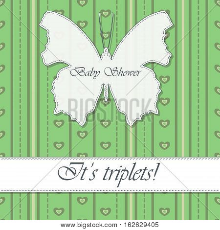 Vector baby shower triplets vintage with butterfly banner