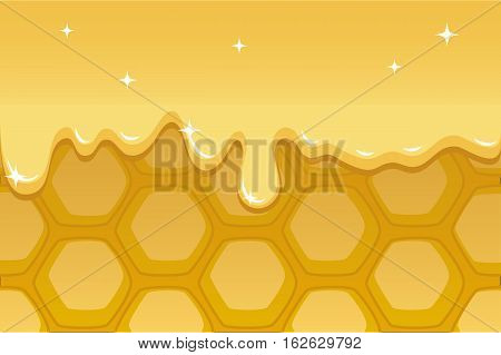 Honeycomb vector illustration for background with honey flow. Honeycomb horizontal image with text place for food package design or banner template. Honey comb background hand-drawn in cartoon style