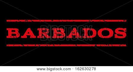 Barbados watermark stamp. Text tag between horizontal parallel lines with grunge design style. Rubber seal stamp with scratched texture. Vector red color ink imprint on a black background.