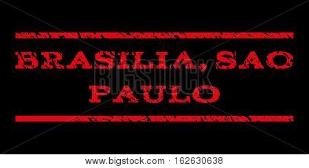 Brasilia, Sao Paulo watermark stamp. Text tag between horizontal parallel lines with grunge design style. Rubber seal stamp with scratched texture. Vector red color ink imprint on a black background.