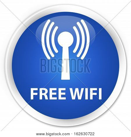Free Wifi (wlan Network) Premium Blue Round Button
