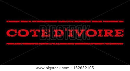 Cote D'Ivoire watermark stamp. Text tag between horizontal parallel lines with grunge design style. Rubber seal stamp with dirty texture. Vector red color ink imprint on a black background.