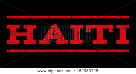 Haiti watermark stamp. Text tag between horizontal parallel lines with grunge design style. Rubber seal stamp with dirty texture. Vector red color ink imprint on a black background.