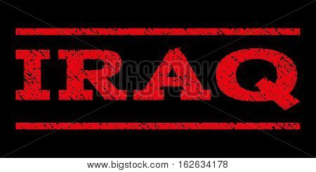 Iraq watermark stamp. Text caption between horizontal parallel lines with grunge design style. Rubber seal stamp with dirty texture. Vector red color ink imprint on a black background.