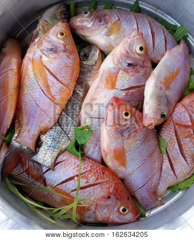 Mango fish steamed with lemongrass & herbs on white dish cooking in steaming pot