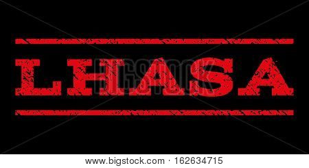 Lhasa watermark stamp. Text caption between horizontal parallel lines with grunge design style. Rubber seal stamp with scratched texture. Vector red color ink imprint on a black background.
