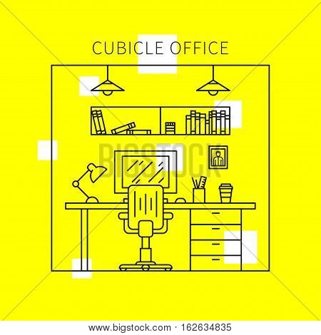 Cubicle office with furniture and equipment lamp desktop table chair vector illustration. Individual workplace creative concept. Stylish office interior graphic design.