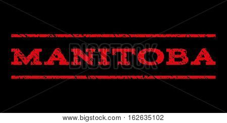 Manitoba watermark stamp. Text caption between horizontal parallel lines with grunge design style. Rubber seal stamp with scratched texture. Vector red color ink imprint on a black background.