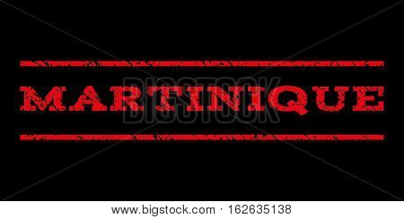 Martinique watermark stamp. Text tag between horizontal parallel lines with grunge design style. Rubber seal stamp with scratched texture. Vector red color ink imprint on a black background.