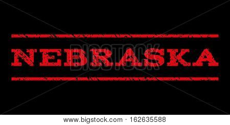 Nebraska watermark stamp. Text tag between horizontal parallel lines with grunge design style. Rubber seal stamp with dirty texture. Vector red color ink imprint on a black background.
