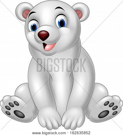 Vector illustration of Cartoon polar bear sitting