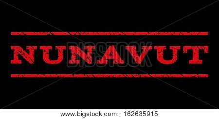 Nunavut watermark stamp. Text caption between horizontal parallel lines with grunge design style. Rubber seal stamp with scratched texture. Vector red color ink imprint on a black background.
