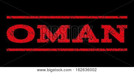 Oman watermark stamp. Text caption between horizontal parallel lines with grunge design style. Rubber seal stamp with dirty texture. Vector red color ink imprint on a black background.