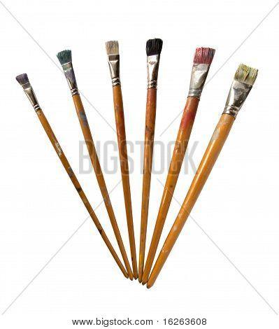 six brushes isolated on white