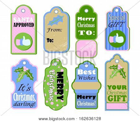 Christmas gift tags vector set on white background. Pastel color vintage icons for sale or discount offer. Merry Christmas and Best wishes label for present wrapping. Santa Claus thumb. New Year decor