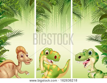 Vector illustration of Set of three cartoon dinosaurs