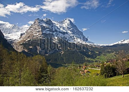 Eiger mountain looking from hillside above Grindelwald