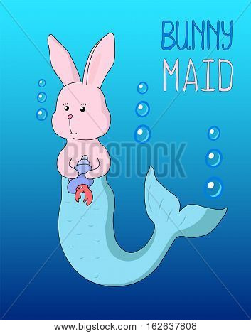 Bunny mermaid cartoon. Hand-drawn vector illustration with text place. Rabbit nursery image for background or poster. Fairy tale animal in comics style. Pink hare artwork. Sea mermaid funny variation