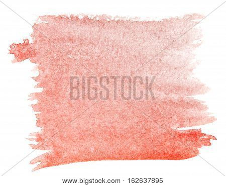 Cadmium red watercolor background. The gradient transition of color from deep red to light red. Design elements. Painting. Grunge colorful background on watercolor paper.