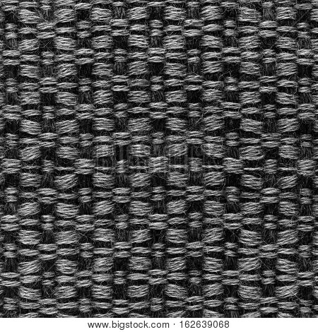 Black hand weaving matting tweed fabric texture. Closeup square fragment poster