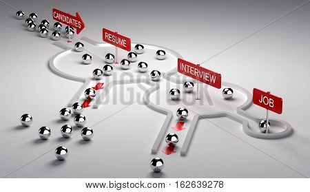 3D illustration of candidates recruitment process. Applicants enters by the left then pass three steps resume interview and finaly get the job horizontal image