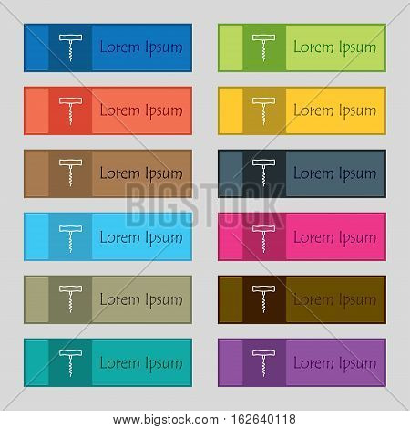 Corkscrew Icon Sign. Set Of Twelve Rectangular, Colorful, Beautiful, High-quality Buttons For The Si