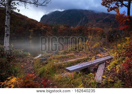 Abandoned viewpoint in cloudy day at Maruno-ike pond on Mt.Shigakogen, Japan.