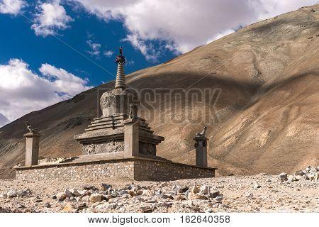 Old Buddhism temple in desert at Pangong lake, Ladakh, India.
