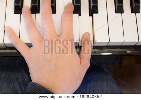 Piano player play the music stock photo