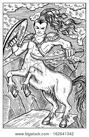Centaur. Human warrior with horse body. Fantasy magic creatures collection. Hand drawn vector illustration. Engraved line art drawing, graphic mythical doodle. Template for card game, poster