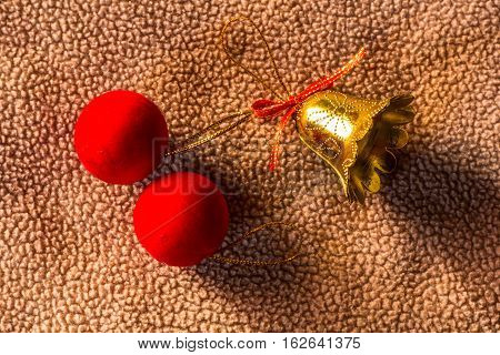 Red Ball with Bell on fabric christmas still life