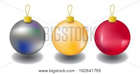 Christmas fir tree ornament isolated on white. Christmas tree balls in red gold and silver colors. Realistic fir tree ornaments with shadow. Vector clipart for winter holiday design. Fir tree decor