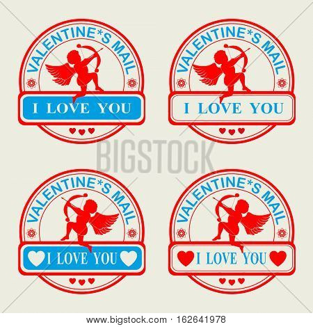 A set of stamps in red and blue colors of Valentine s Day with Cupid