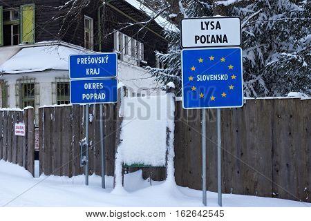 SLOVAKIA LYSA POLANA - JANUARY 05 2015: Slovak border post on the Lysa Polana in the High Tatras mountains. Border crossing on the road from Zakopane (Poland) to Tatranska Lomnica (Slovakia).