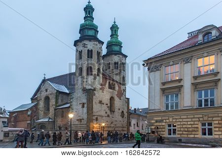 POLAND KRAKOW - JANUARY 01 2015: Church of St. Andrew. Romanesque church built between 1079 and 1098. It is a rare surviving example of the European fortress church used for defensive purposes.