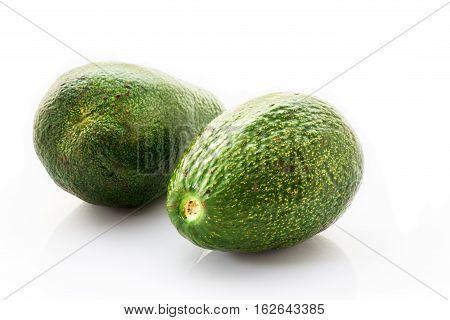 Fresh of green avocado isolated on white background.