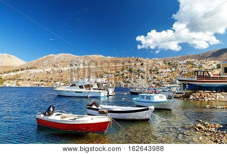 Picturesque island of Symi, traditional village of Pedi, Dodecanese, Aegean, Greece