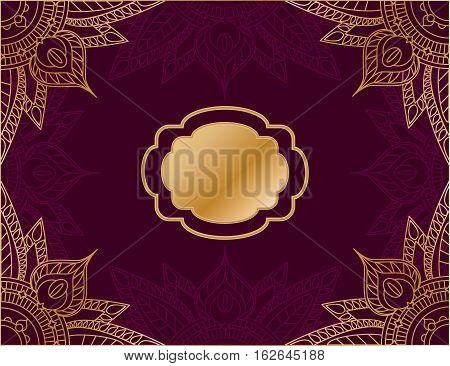 Horizontal vector illustration in arabic style with red background and gold mandala ornament. Bordeaux vine color cover template for art journal or album. Box package ethnic design. Greeting card