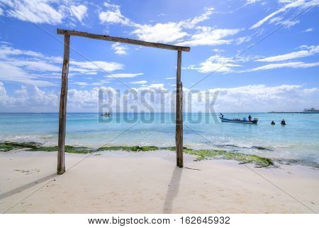 PLAYA DEL CARMEN MEXICO - NOVEMBER 8 2016: Playa del Carmen boat owners operate sport fishing and scuba tours at this popular tourist destination of the Mexican Riviera.