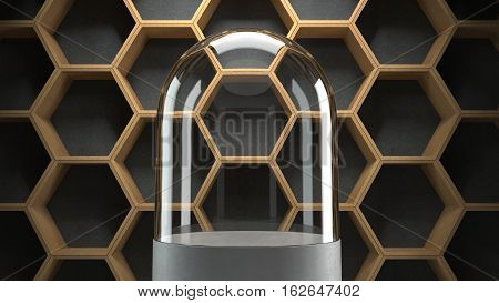 Glass dome with hexagons pattern background for display. 3D rendering.