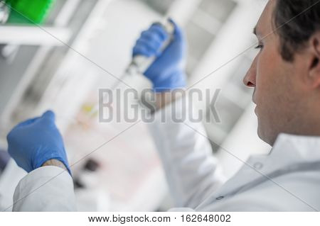 Scientist In The Laboratory Filling Test Tubes With Pipette