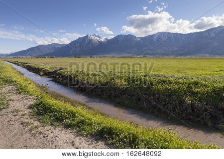 Irrigation Ditch in Carson Valley Nevada with green field and mountains