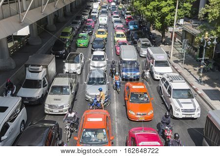 Bangkok Thailand - December 21 2015: Traffic jam sathorn junction in the morning as working hour sathorn business district is the center of bangkok.