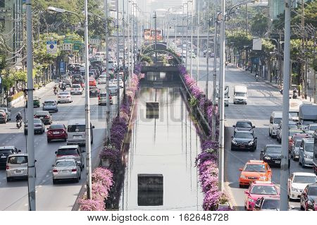 Bangkok Thailand - December 21 2015: Traffic at sathorn road in the morning as working hour sathorn business district is the center of bangkok.