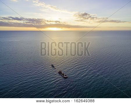 Aerial View Of Historic Shipwreck Of Hmvs Cerberus At Sunset.