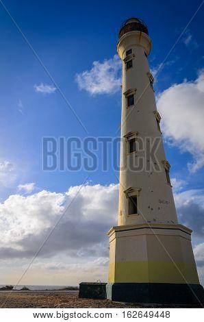 The White Old California Lighthouse In Aruba