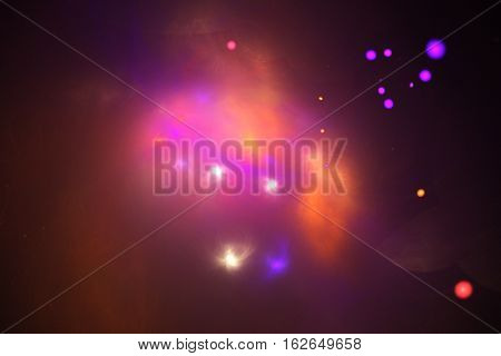 Bright Nebula. Abstract Glowing Shapes And Sparkles On Black Background. Fantasy Fractal Design In P