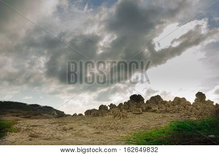 Dry And Arid Desert Landscape In Aruba